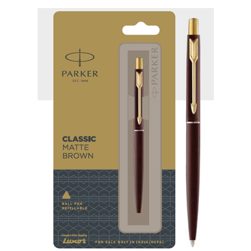 Parker Classic Matte Brown Ball Pen With Gold Trim Authorized Distributor Wholesaler Retailer Bulk Order Buy Shop Online Supplier Dealers In Kerala South India