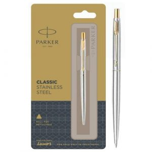 Parker classic stainless steel ball pen with gold trim