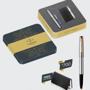 Frontier Stainless Steel Roller Ball Pen GT with FREE Card Holder