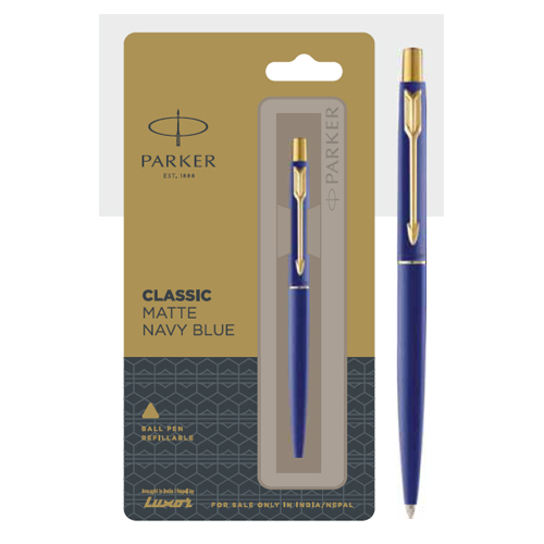 Parker Classic Matte Navy Blue Ball Pen With Gold Trim Authorized Distributor Wholesaler Retailer Bulk Order Buy Shop Online Supplier Dealers In Kerala South India