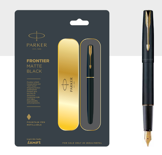 Parker Frontier Matte Black Fountain Pen With Gold Trim Authorized Wholesaler Retailer Bulk Order Supplier Dealers in Kerala South India