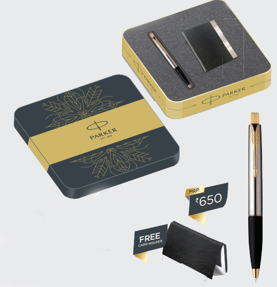 Parker Frontier Stainless Steel Ball Pen GT with FREE Card Holder Authorized Wholesaler Retailer Supplier Dealers in Kerala South India