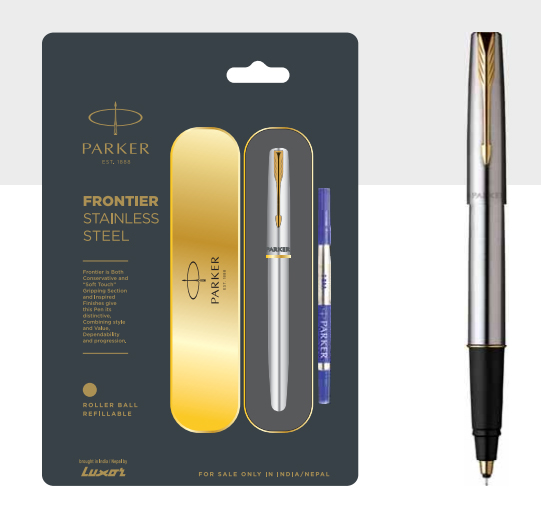 Parker Frontier Stainless Steel Roller Ball Pen With Gold Trim Authorized Wholesaler Retailer Bulk Order Supplier Dealers In Kerala South India