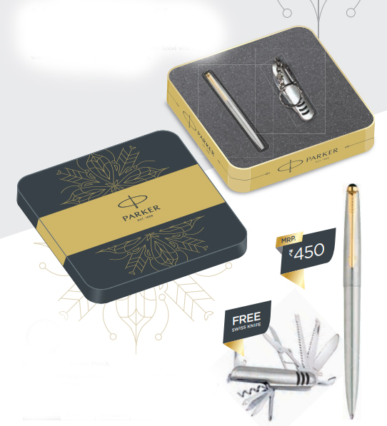 Parker Galaxy Stainless Steel Ball Pen GT with Free Swiss Knife Authorized Wholesaler Retailer Bulk Order Supplier Dealers in Kerala South India