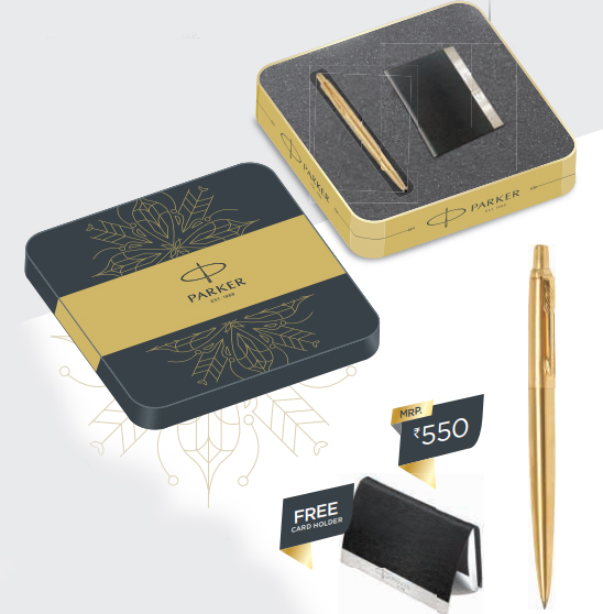 Parker Jotter Gold Ball Pen GT with free Card Holder Authorized Wholesaler Retailer Supplier Dealers in Kerala South India