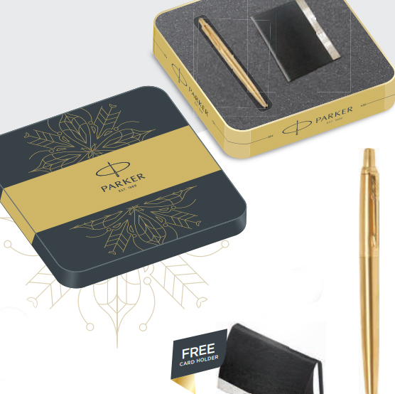 Parker Jotter Gold Ball Pen GT with with Card Holder Authorized Wholesaler Retailer Bulk Order Supplier Dealers in Kerala South India