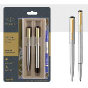 Parker Vector Ball pen + Roller pen with gold trim