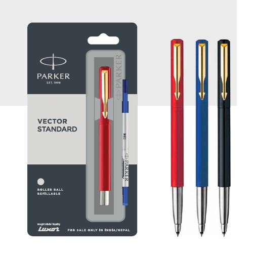 Parker Vector Standard Roller Ball Pen With Gold Trim Authorized Distributor Wholesaler Retailer Bulk Order Buy Shop Online Supplier Dealers In Kerala South India