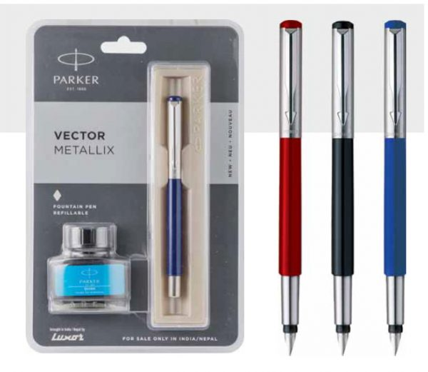 Parker Vector Metallix Fountain Pen With Stainless Steel Trim + Ink Bottle Authorized Distributor Wholesaler Retailer Bulk Order Buy Shop Online Supplier Dealers In Kerala South India