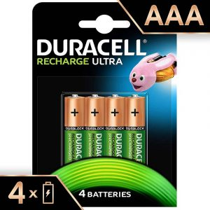 Duracell Recharge Ultra | AAA4-900 MAH | Green Rechargeable AAA Batteries with Duralock | Pack of 4 | SKU: 5003449 | Buy Bulk Online