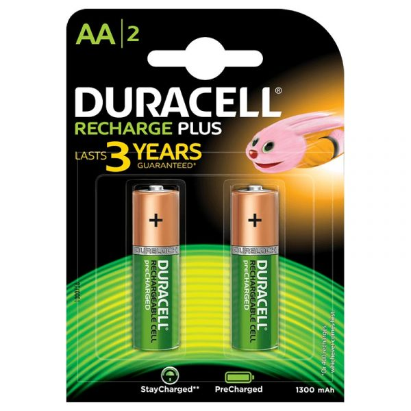 Duracell Recharge Plus- Green Rechargeable AA Batteries 1300 MAH with Duralock - Pack of 2 Pieces SKU: 5000172 Authorized Distributors Wholesaler Exporter Shop Buy Online Supplier Best Lowest Price Dealers In Kerala South India