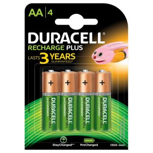 Duracell Recharge Plus- Green Rechargeable AA Batteries 1300 MAH with Duralock – Pack of 4 Pieces- SKU: 5000174 | Buy Bulk Online