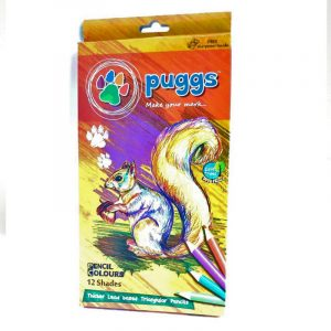 Puggs Pencil Colours | 12 Shades / Color |Thicker Lead Based Triangular Pencils | Buy Bulk At Wholesale Price Online